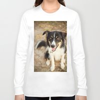 border collie Long Sleeve T-shirts featuring Border Collie by Paw Prints By Jamie