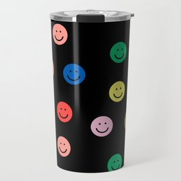 Smiley faces black happy simple rainbow colors pattern smile face kids nursery boys girls decor Travel Mug