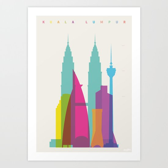 Shapes of Kuala Lumpur. Accurate to scale Art Print