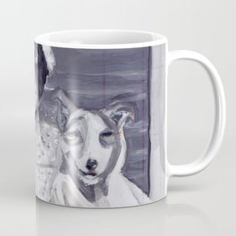 An Old Lady and Her Little Dog in Gouache Coffee Mug