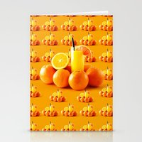 orange pattern Stationery Cards featuring Orange Pattern by Azeez Olayinka Gloriousclick