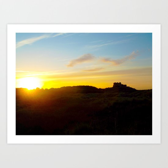 Winter sunset in Bamburgh Art Print