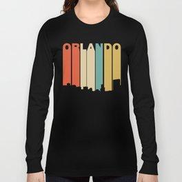 Retro 1970's Style Orlando Florida Skyline Long Sleeve T-shirt
