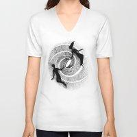 milky way V-neck T-shirts featuring Milky Way by Aleksandra Kabakova