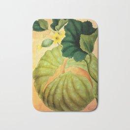 Muskmelon, Vintage Botanical Illustration Collage Art Bath Mat