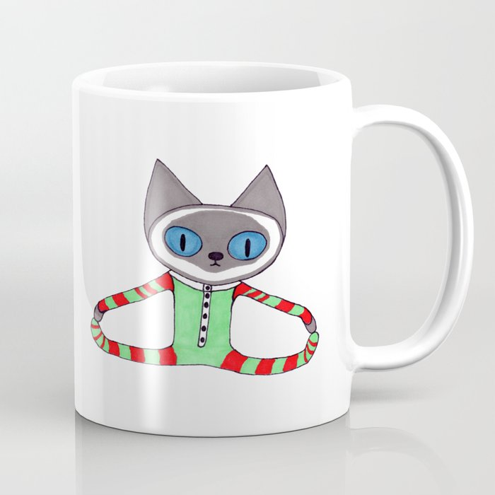 cute siamese cat in his red and green striped christmas pajamas coffee mug
