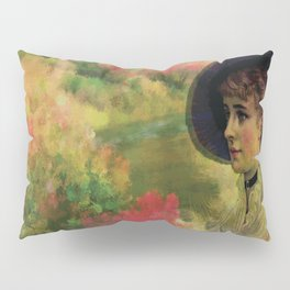 VINTAGE LADY IN THE COUNTRYSIDE Pop Art Pillow Sham