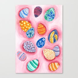 Easter Egg Watercolor Pattern Painting Canvas Print