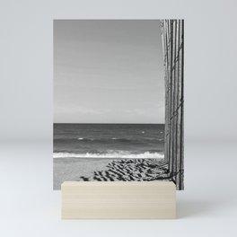 Black and White Beach Fence Mini Art Print