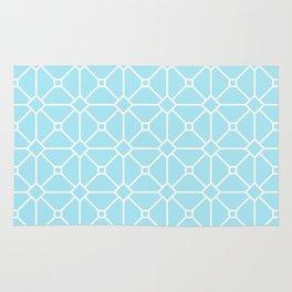 Cool Blue Geometric Pattern Rug