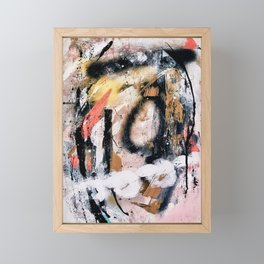 Lightning Soul: a vibrant colorful abstract acrylic, ink, and spray paint in gold, black, pink Framed Mini Art Print