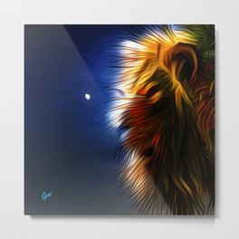 Lion on the Beach at Night Metal Print