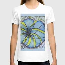 Zentangle Blue Yellow Flower T-shirt