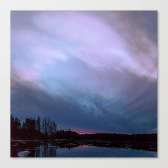 Sunset in winter evening Canvas Print