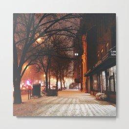 Evening Walk in the Snow in Chelsea Metal Print