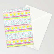 Modern bright hand drawn colorful geometric aztec pattern Stationery Cards