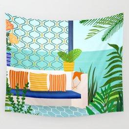 Sanctuary - Tropical Garden Villa Wall Tapestry