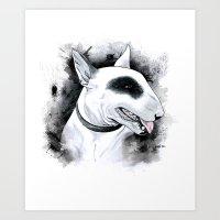 bull terrier Art Prints featuring Bull Terrier by kitara