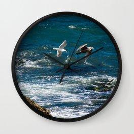 Training Flight - Birds flying over the ocean Wall Clock