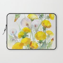 Watercolor yellow flowers dandelions Laptop Sleeve