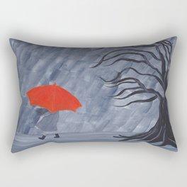 Orange Umbrella Rectangular Pillow