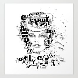 Typographic image Claudia Cardinale Once upon a time in the west Art Print