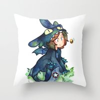 toothless Throw Pillows featuring toothless by noCek
