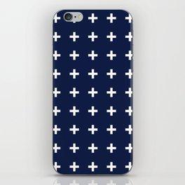 Navy Blue Swiss Cross Minimal iPhone Skin
