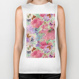 abstract floral pink Biker Tank
