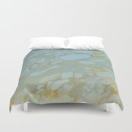 Marble in Blues and Golds, Italian  Duvet Cover