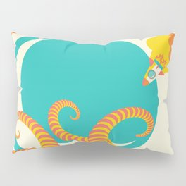 Retro design of flying space rocket Pillow Sham