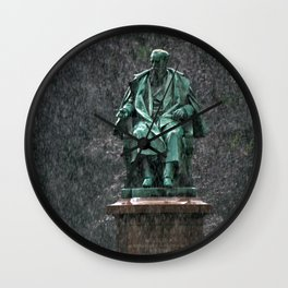 Monument in the rain | Denkmal im Regen Wall Clock