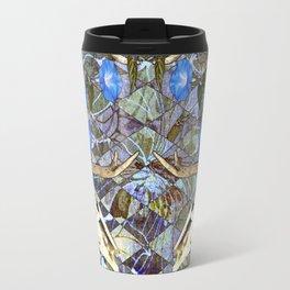 Diamond Pattern Deer Skull And Morning Glory Travel Mug