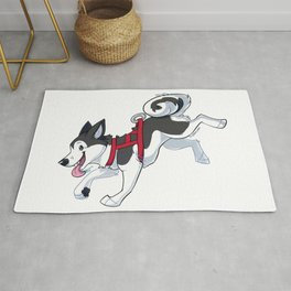 Grey Husky Running Rug