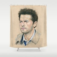 castiel Shower Curtains featuring Castiel by Stormwolf Studios
