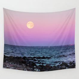 Full Moon on Blue Hour Wall Tapestry