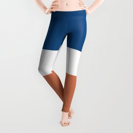 Color Block Triple Pattern in Blue, Terracotta, and White Leggings