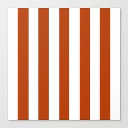 Rust brown - solid color - white vertical lines pattern Canvas Print