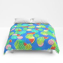 Watermelons and pineapples in blue Comforters