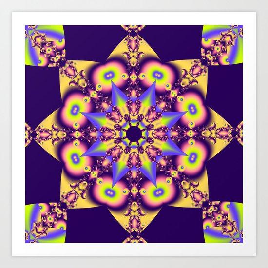 Decorative double star kaleidoscope Art Print