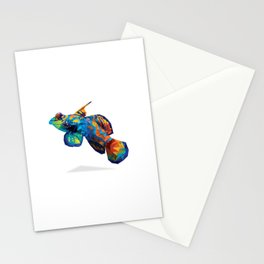 Geometric Abstract Mandarin Dragonette Goby Stationery Cards