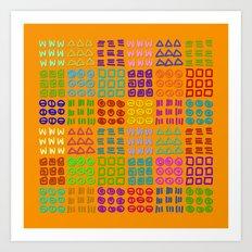 Aztec Wannabe (Orange) Art Print