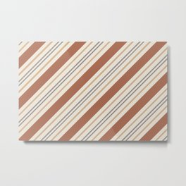 Cavern Clay SW 7701 and Accent Colors Thick and Thin Angled Lines Triple Stripes 1 Metal Print