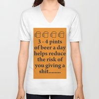 beer V-neck T-shirts featuring Beer by cocksoupart