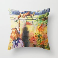 Alice Meeting Humpty Dealer Throw Pillow