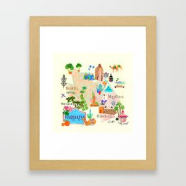 Illustrated map of Marrakech Framed Art Print