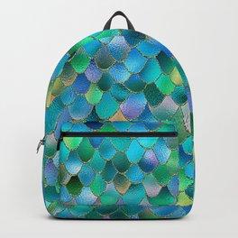Summer Ocean Metal Mermaid Scales Backpack