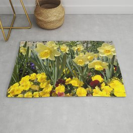 Floral Spring Garden with Daffodils and Pansies Rug