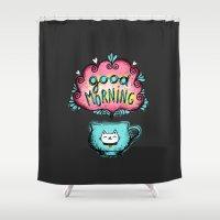 good morning Shower Curtains featuring Good Morning! by Anna Alekseeva kostolom3000