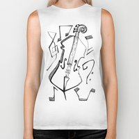 cello Biker Tanks featuring Dancing Cello by Ashley Grebe